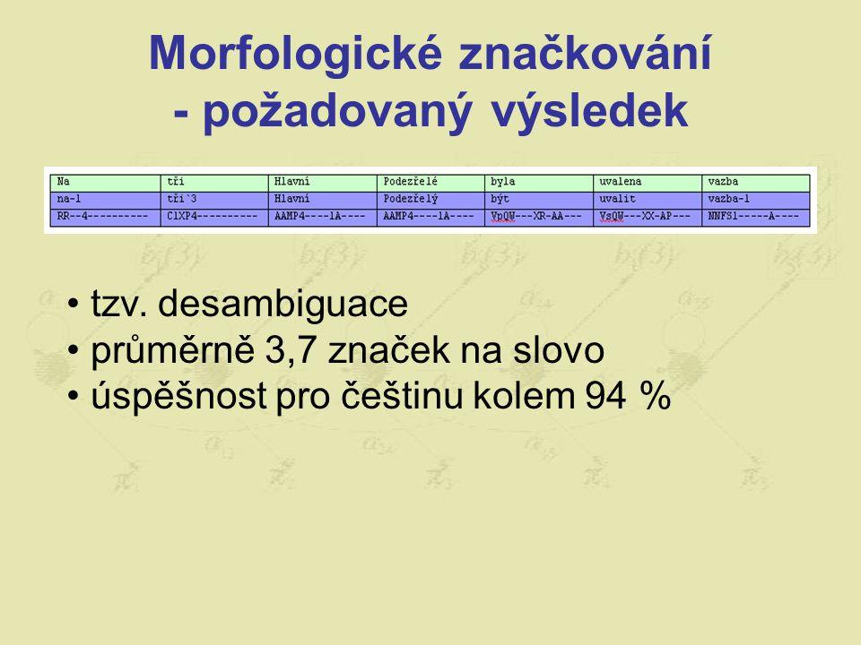 Morfologické značkování - požadovaný výsledek