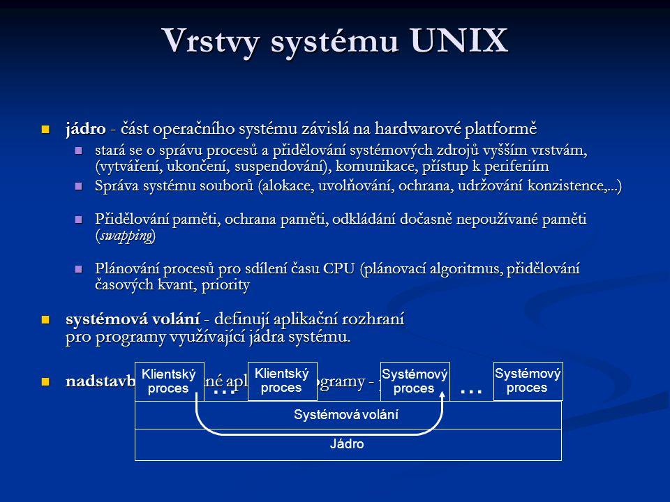 Vrstvy systému UNIX jádro - část operačního systému závislá na hardwarové platformě.