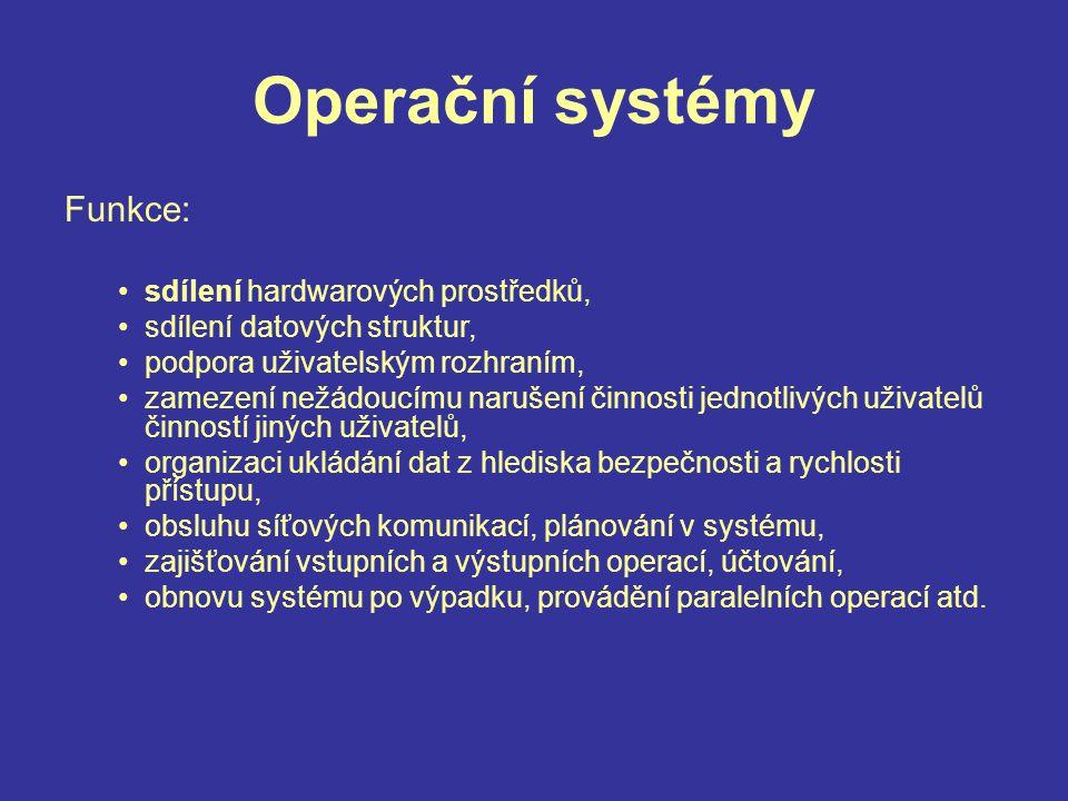 Operační systémy Funkce: sdílení hardwarových prostředků,