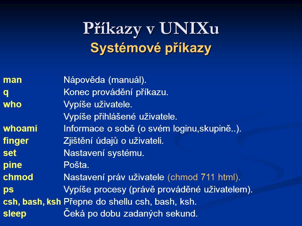 Příkazy v UNIXu Systémové příkazy man Nápověda (manuál).