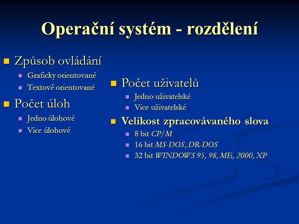 Operační systém - rozdělení