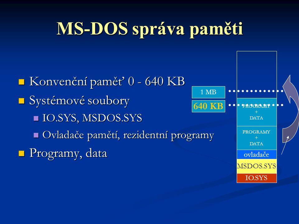 MS-DOS správa paměti Konvenční paměť 0 - 640 KB Systémové soubory