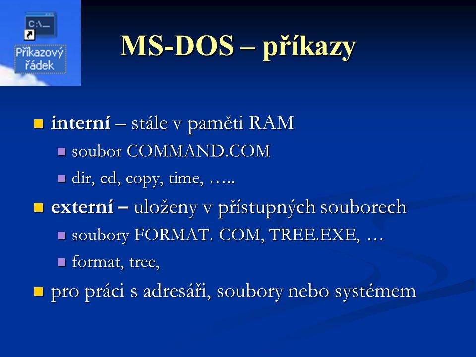 MS-DOS – příkazy interní – stále v paměti RAM