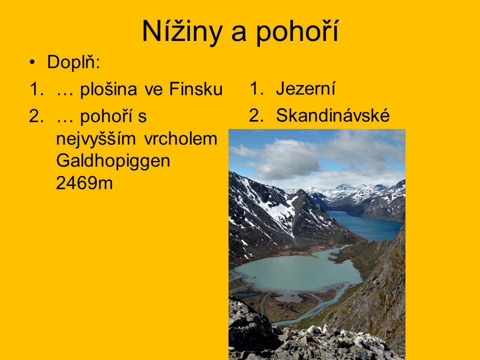 Nížiny a pohoří Doplň: … plošina ve Finsku