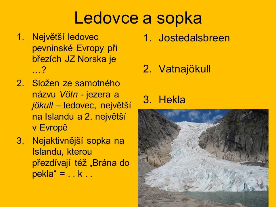 Ledovce a sopka Jostedalsbreen Vatnajökull Hekla