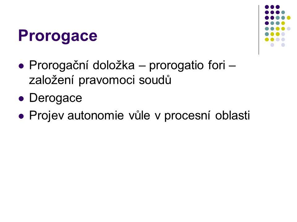 Prorogace Prorogační doložka – prorogatio fori – založení pravomoci soudů.