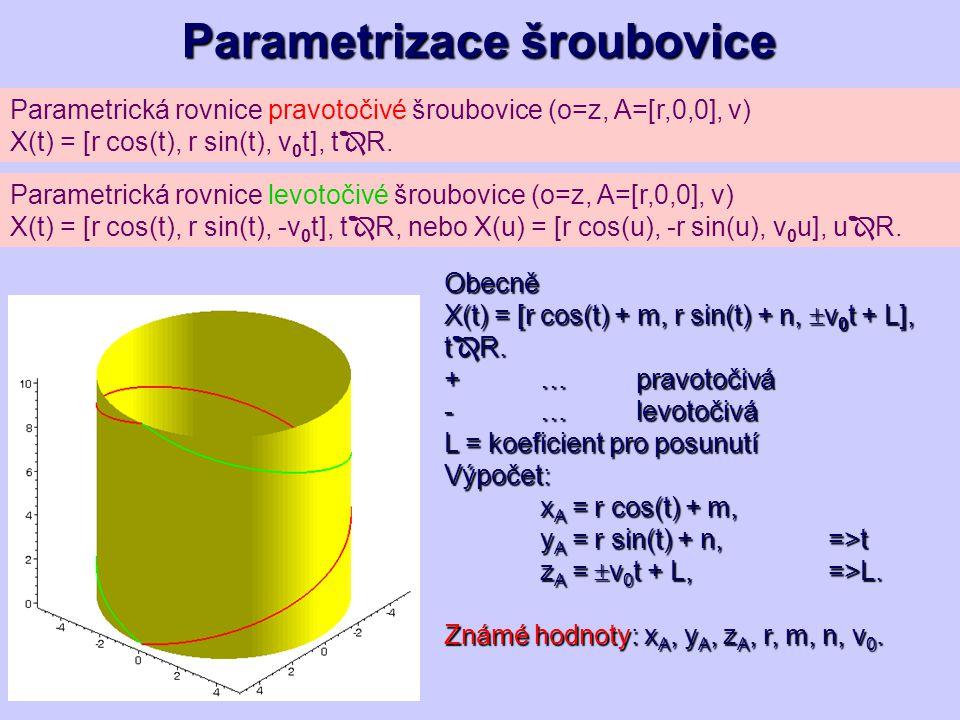 Parametrizace šroubovice