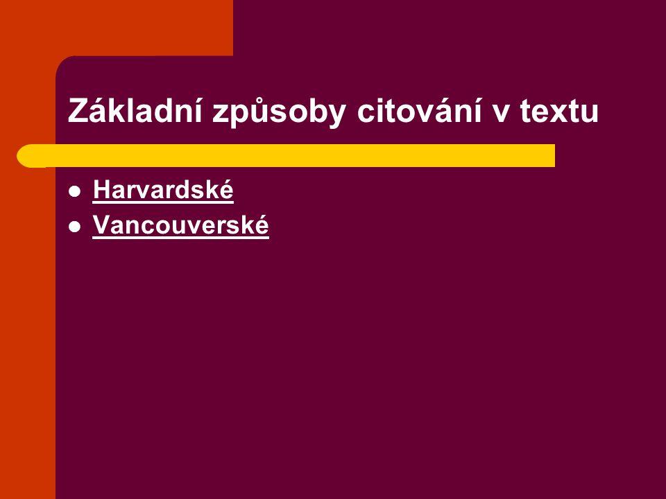Základní způsoby citování v textu
