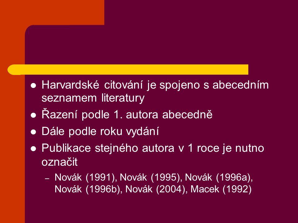 Harvardské citování je spojeno s abecedním seznamem literatury