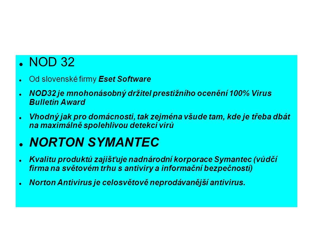 NOD 32 NORTON SYMANTEC Od slovenské firmy Eset Software