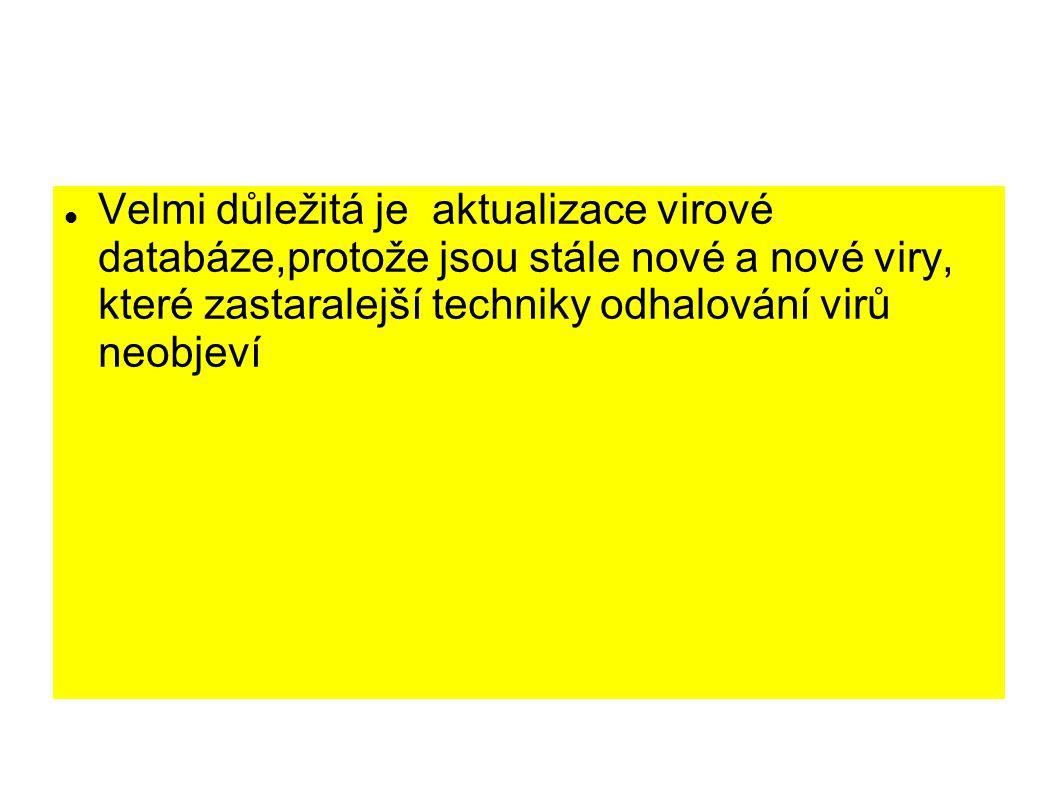 Velmi důležitá je aktualizace virové databáze,protože jsou stále nové a nové viry, které zastaralejší techniky odhalování virů neobjeví