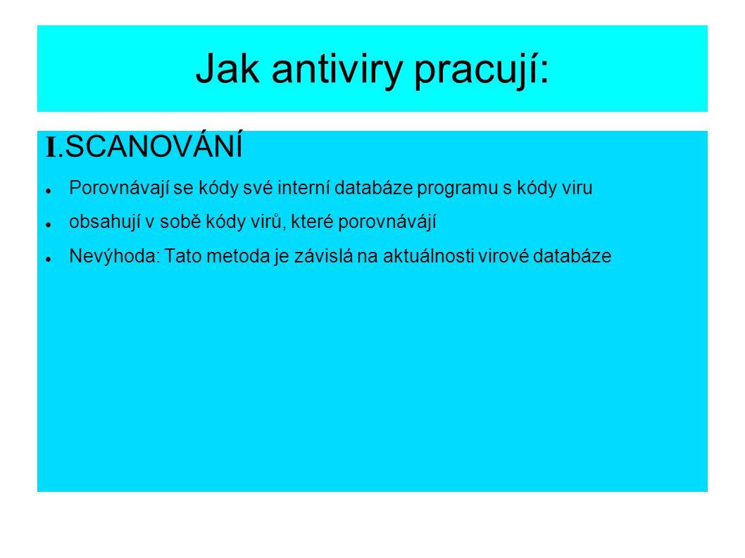 Jak antiviry pracují: I.SCANOVÁNÍ