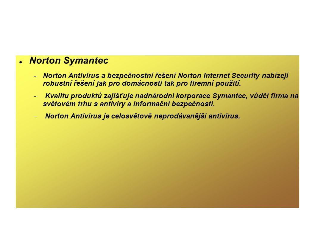 Norton Symantec Norton Antivirus a bezpečnostní řešení Norton Internet Security nabízejí robustní řešení jak pro domácnosti tak pro firemní použití.