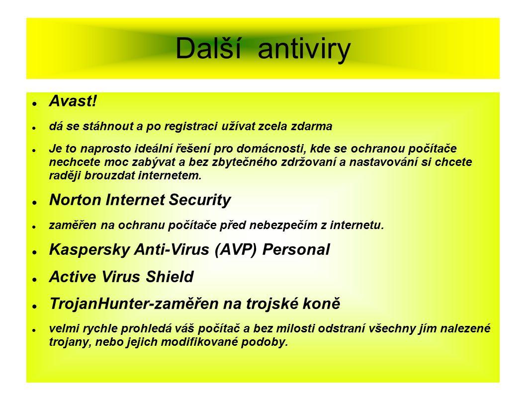 Další antiviry Avast! Norton Internet Security