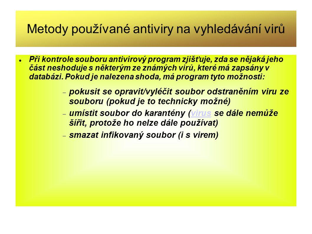 Metody používané antiviry na vyhledávání virů
