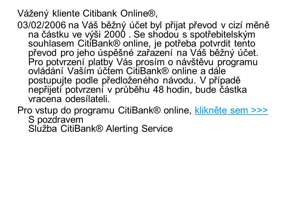 Vážený kliente Citibank Online®,