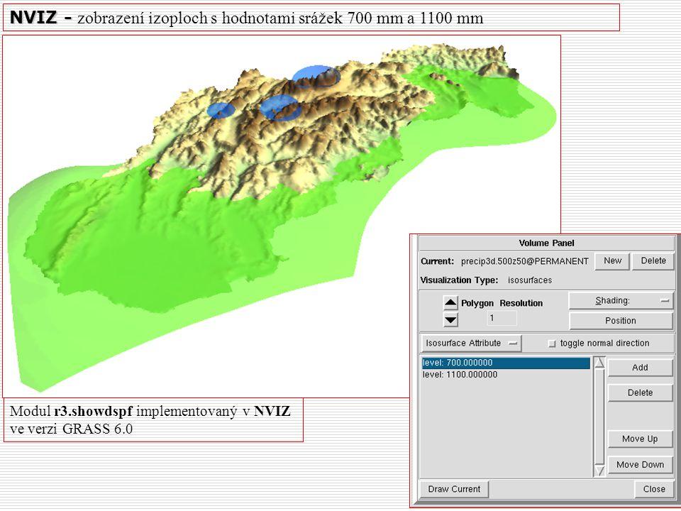 NVIZ - zobrazení izoploch s hodnotami srážek 700 mm a 1100 mm
