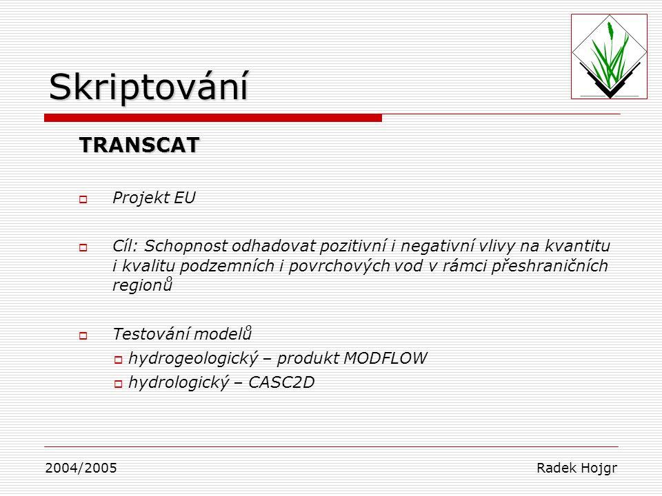 Skriptování TRANSCAT Projekt EU