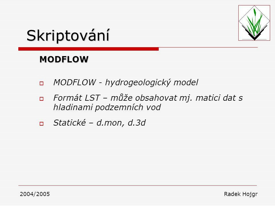 Skriptování MODFLOW MODFLOW - hydrogeologický model