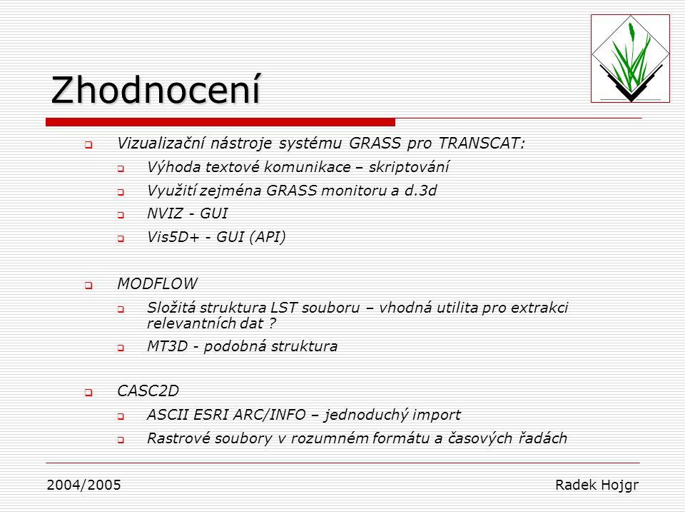 Zhodnocení Vizualizační nástroje systému GRASS pro TRANSCAT: MODFLOW