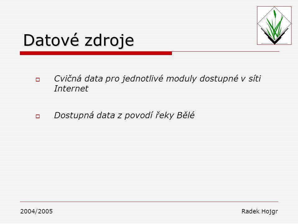 Datové zdroje Cvičná data pro jednotlivé moduly dostupné v síti Internet. Dostupná data z povodí řeky Bělé.