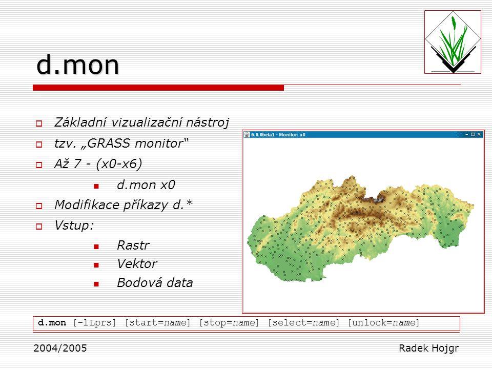 """d.mon Základní vizualizační nástroj tzv. """"GRASS monitor"""