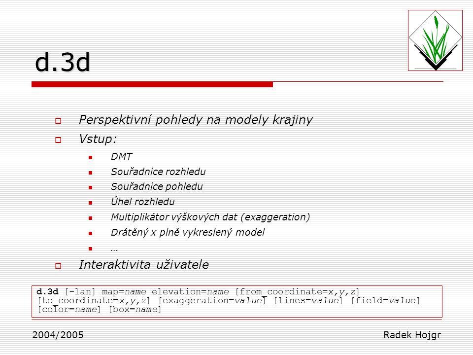 d.3d Perspektivní pohledy na modely krajiny Vstup: