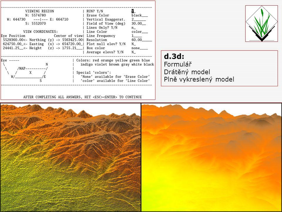 d.3d: Formulář Drátěný model Plně vykreslený model