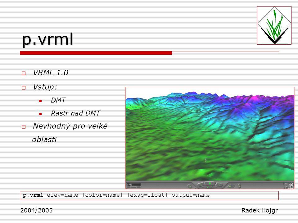 p.vrml VRML 1.0 Vstup: Nevhodný pro velké oblasti DMT Rastr nad DMT