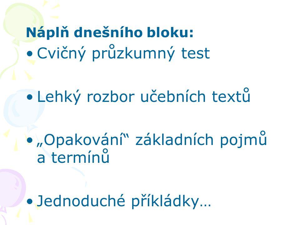 """Lehký rozbor učebních textů """"Opakování základních pojmů a termínů"""