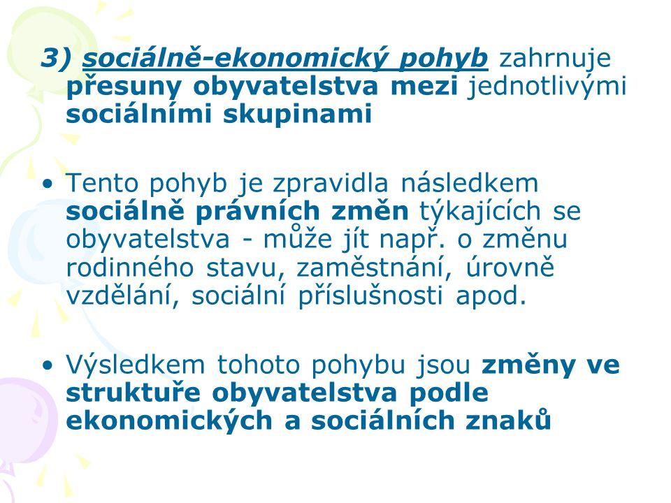 3) sociálně-ekonomický pohyb zahrnuje přesuny obyvatelstva mezi jednotlivými sociálními skupinami