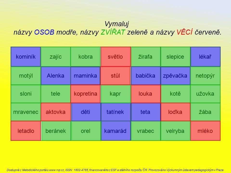 názvy OSOB modře, názvy ZVÍŘAT zeleně a názvy VĚCÍ červeně.
