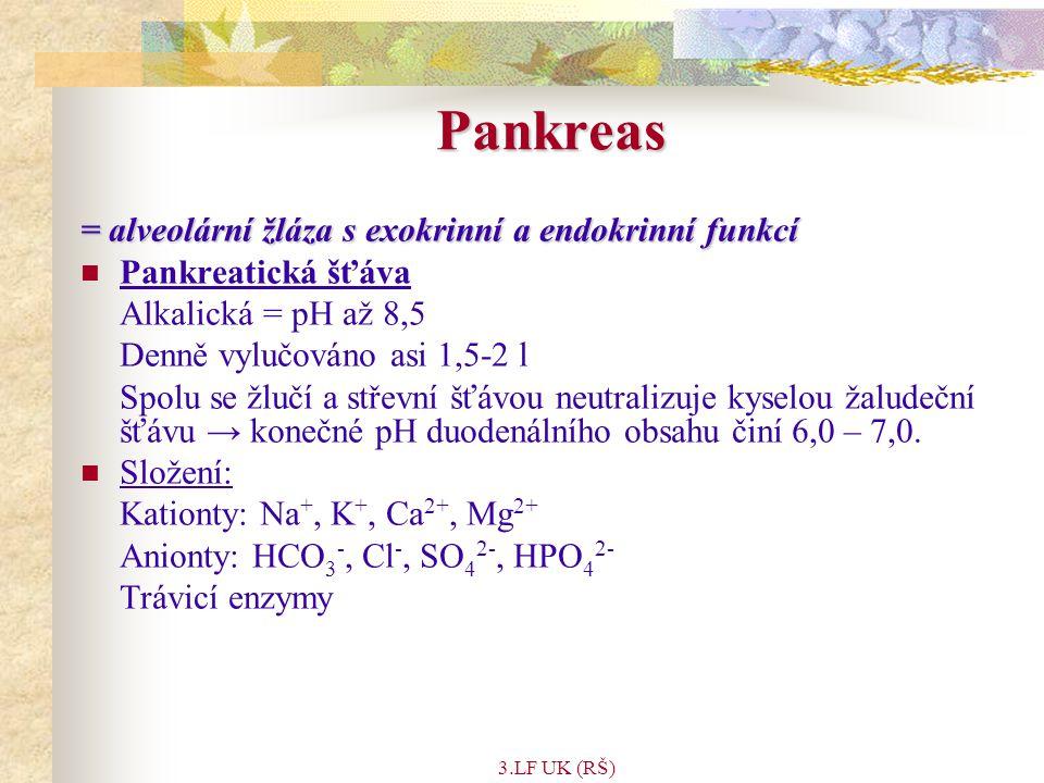 Pankreas = alveolární žláza s exokrinní a endokrinní funkcí