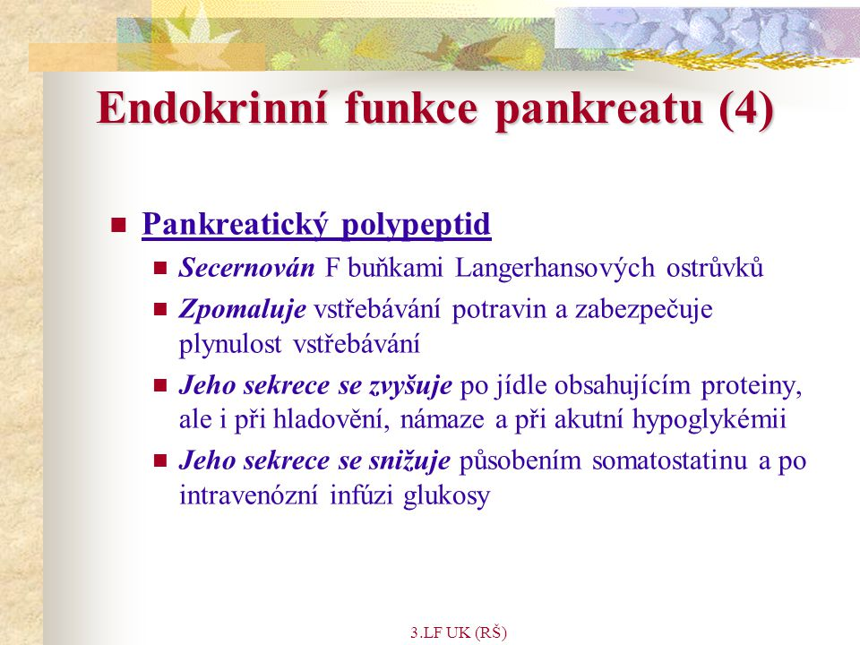 Endokrinní funkce pankreatu (4)