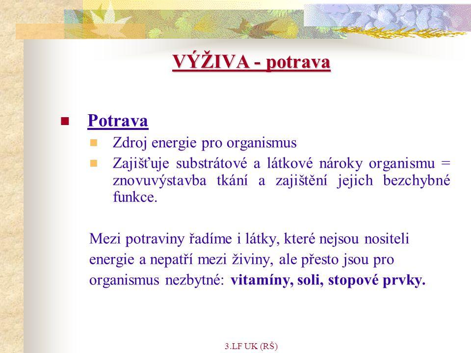 VÝŽIVA - potrava Potrava Zdroj energie pro organismus