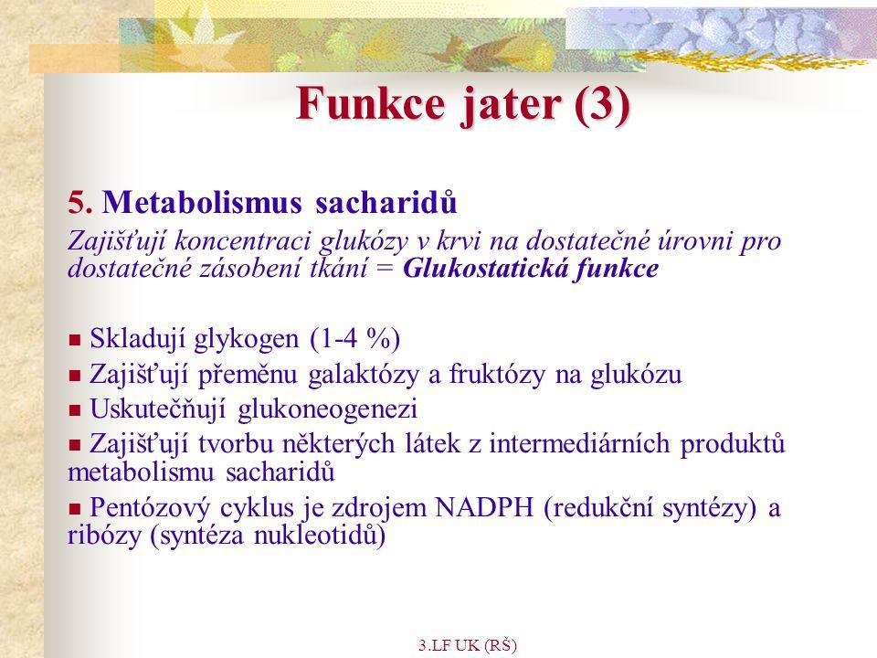 Funkce jater (3) 5. Metabolismus sacharidů