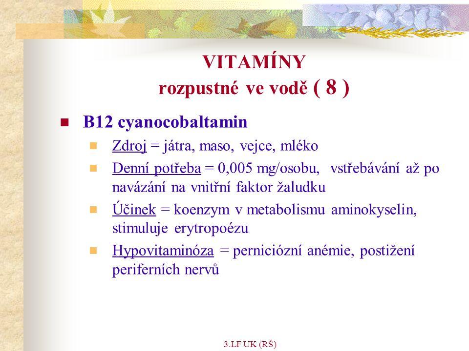 VITAMÍNY rozpustné ve vodě ( 8 )