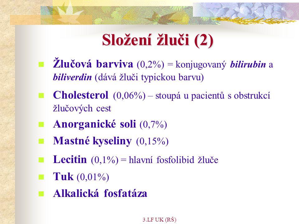 Složení žluči (2) Žlučová barviva (0,2%) = konjugovaný bilirubin a biliverdin (dává žluči typickou barvu)