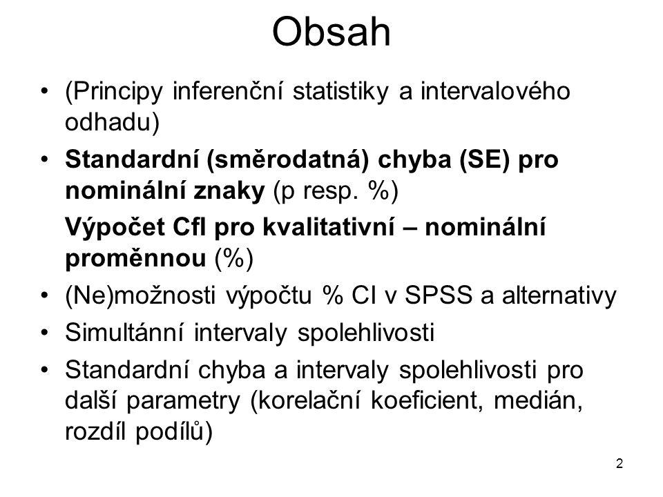 Obsah (Principy inferenční statistiky a intervalového odhadu)
