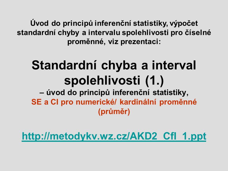 Úvod do principů inferenční statistiky, výpočet standardní chyby a intervalu spolehlivosti pro číselné proměnné, viz prezentaci: