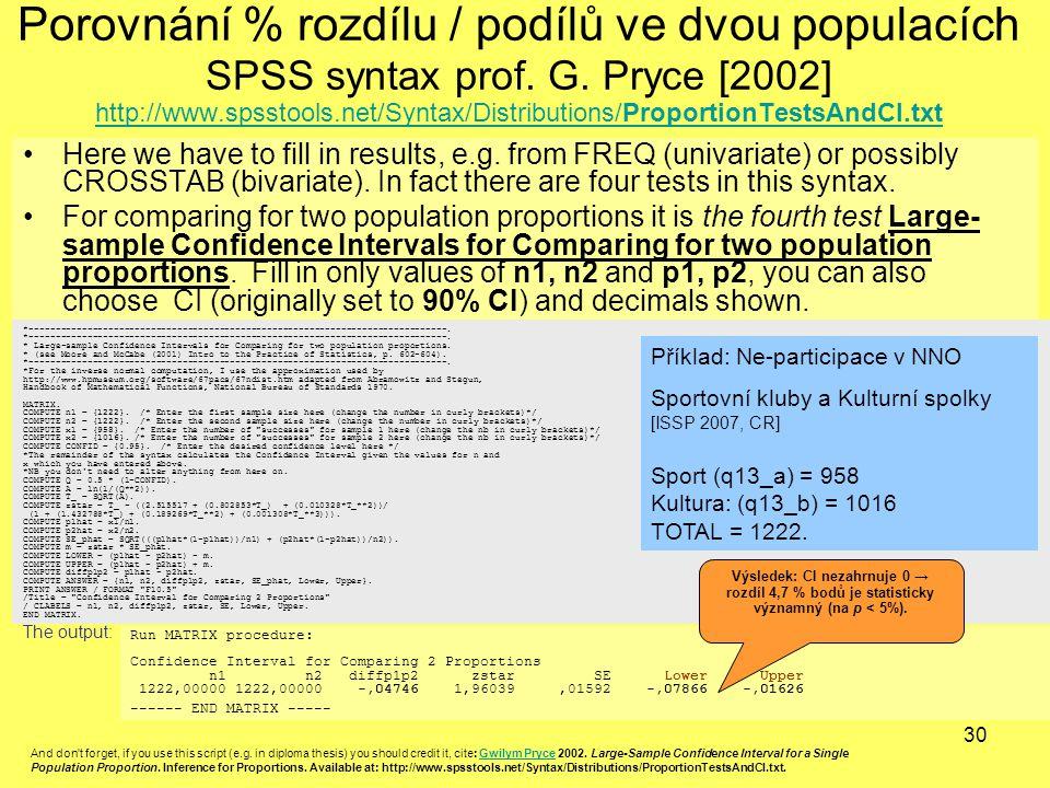 Porovnání % rozdílu / podílů ve dvou populacích SPSS syntax prof. G