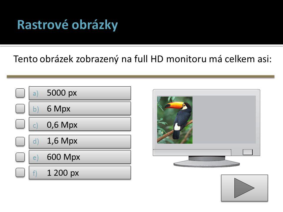 Tento obrázek zobrazený na full HD monitoru má celkem asi: