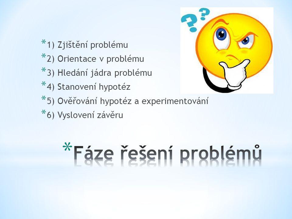 Fáze řešení problémů 1) Zjištění problému 2) Orientace v problému