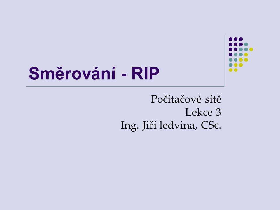 Směrování - RIP Počítačové sítě Lekce 3 Ing. Jiří ledvina, CSc.