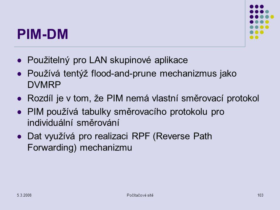 PIM-DM Použitelný pro LAN skupinové aplikace