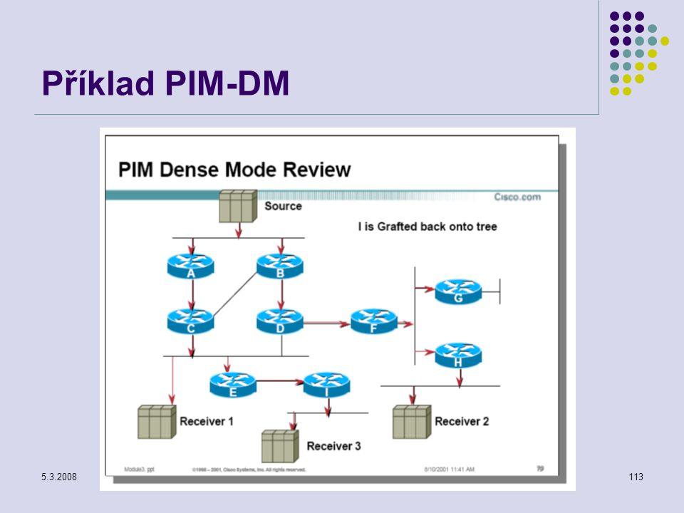 Příklad PIM-DM 5.3.2008 Počítačové sítě