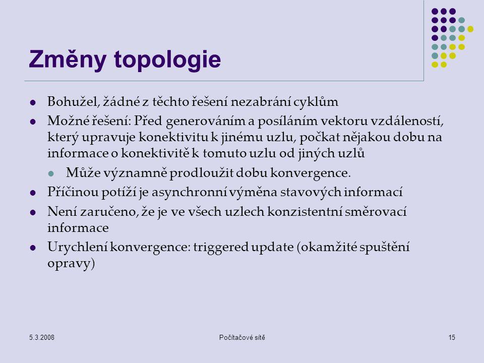 Změny topologie Bohužel, žádné z těchto řešení nezabrání cyklům
