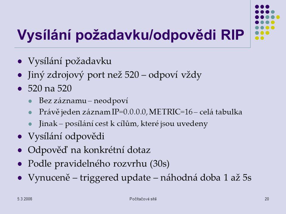 Vysílání požadavku/odpovědi RIP