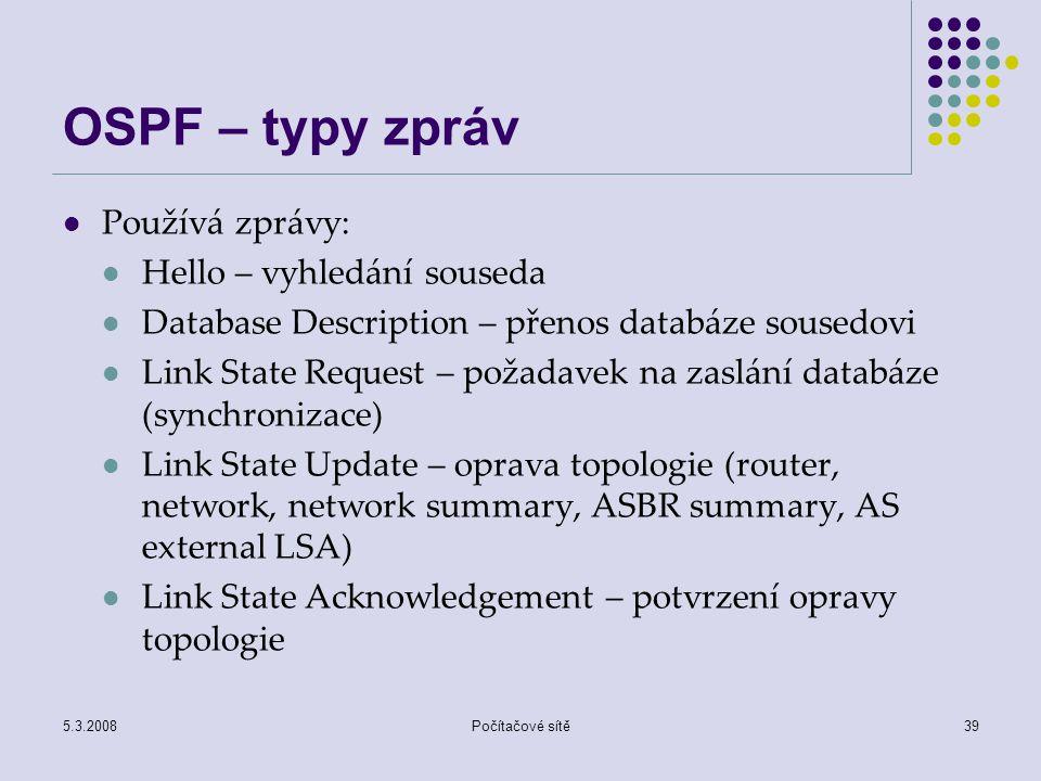 OSPF – typy zpráv Používá zprávy: Hello – vyhledání souseda