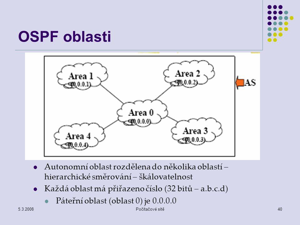 OSPF oblasti Autonomní oblast rozdělena do několika oblastí – hierarchické směrování – škálovatelnost.
